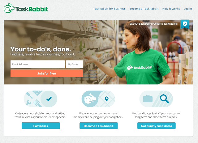 Login-Mauer bei Task Rabbit