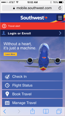 Mobile-Homepage der Southwest Airlines