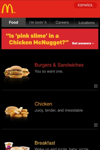 Mobile Website von McDonald's